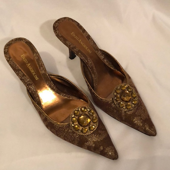 a2d078f81f6 Enzo Angiolini Shoes - Enzo Angiolini mules bronze gold pointy toe heels